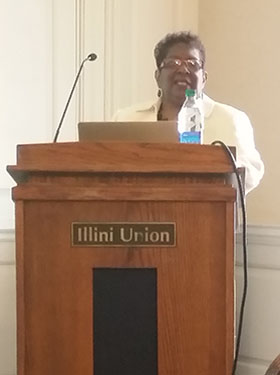 Linda Tillman at an Illini Union Podium