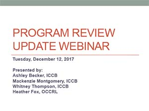 December 12 2017 Program Review webinar title slide