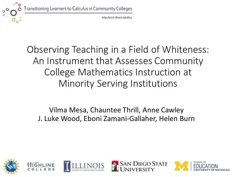 Observing Teaching in a Field of Whiteness: An Instrument that Assesses Community College Mathematics Instruction at Minority Serving Institutions
